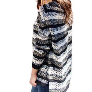 Zara black white gray oversized crochet sweater